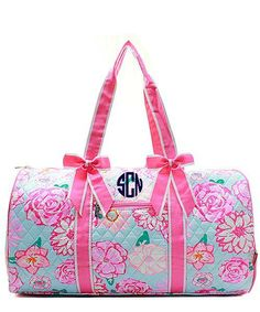 Personalized Floral Rose Large Quilted Duffel Bag - Pink