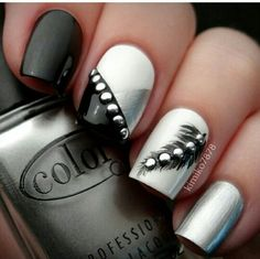 Black and silver. This is gonna take a long time but I would give it a try. #nailart #nails