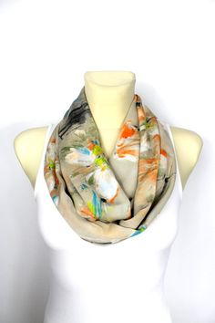 Gift for Mom Silk Infinity Scarf Boho Infinity Scarf Floral Loop Scarf Satin Scarf Mothers Day Gift from Husband or Son Spring Celebrations