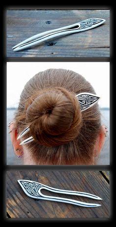 Carved Celtic Bone Hairfork by DreamingDragonDesign