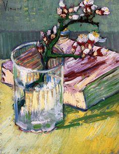 Винсент Ван Гог. Ветвь цветущего миндаля в вазе и книга