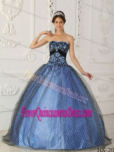 Taffeta and Tulle Beaded Black and Blue Quinceanera Gown with Appliques