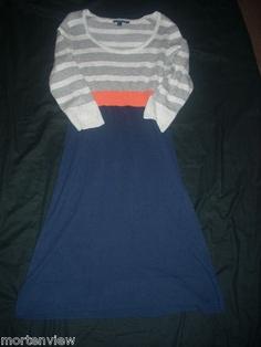WOMEN'S BODEN GRAY BLUE STRIPED SWEATER DRESS CASHMERE BLEND KNIT SIZE 10 R $49.99
