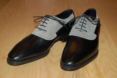 Corthay in black leather and grey suede