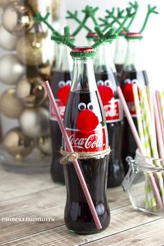 Cherry Coke Poke Cake and Coke Bottle Reindeer are quick, easy and make the perfect Holiday Gifts for co-workers, friends and neighbors!