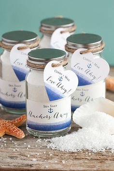 This is an awesome idea... Nautical themed wedding, sea salt wedding favors!