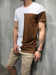 3f098873d2449 Men Block Casual Graphic T-Shirt - White 3842