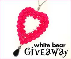 Lace Heart Necklace by White Bear Accessories! Enter to win by February 2013 at EST. Lace Heart, Giveaways, Beaded Jewelry, Coupons, Crochet Earrings, February, Dots, At Least, Bear