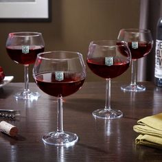 Regal Crest Monogrammed Red Wine Glasses, Set of 4 (Clear/S)