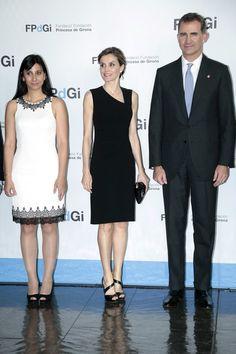 Queen Letizia of Spain (C), King Felipe VI of Spain (R) and Silvia Osuna (L) attend the 'Fundacion Princesa de Girona Awards' at the Auditori of Girona on July 1, 2016 in Girona, Spain.