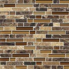"Back splash - Butternut Emperador - Stone Radiance Stone and Glass 5/8"" Random Mosaic 12x12 Mounted Sheet"