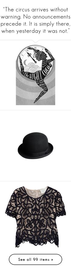 """""The circus arrives without warning. No announcements precede it. It is simply there, when yesterday it was not."""" by thief ❤ liked on Polyvore featuring accessories, hats, black, fred flare, wool hat, felt hats, woolen hat, wool felt hat, tops and blouses"