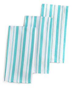 Martha Stewart Collection Basket Weave Aqua-Striped Kitchen Towels, Set of 3 - Kitchen Gadgets - Kitchen - Macy's