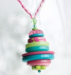 Button stack pendant - good for a long one.