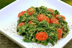 Raw Wilted Spinach with Tarragon Pine Nut Sauce