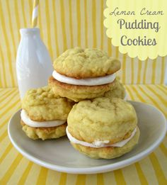 lemon pudding cookies with lemon cream filling by www.crazyforcrust.com