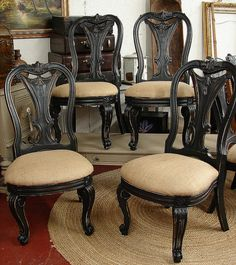 Vintage Reclaimed Black Paint Distressed Burlap Bernhardt Dining Room Chair.