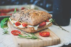 mediterranean egg white breakfast sandwich with roasted tomatoes