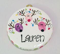 Reindeer thumbprint ornament. :: Brush Strokes Pottery : Austin, TX