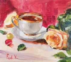 Cool Paintings, Watercolor Paintings, Original Paintings, Original Art, Tea Cup Art, Lemon Art, Rose Art, Color Art, Kitchen Wall Art
