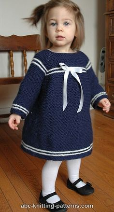ABC Knitting Patterns – Child's Easy Sailor Dress - Babykleidung Baby Knitting Patterns Free Newborn, Baby Cardigan Knitting Pattern Free, Knitting For Kids, Baby Patterns, Easy Knitting, Crochet Patterns, Girls Knitted Dress, Knit Baby Dress, Crochet Baby Clothes