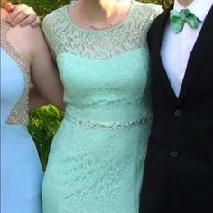 Teal prom dress Lace mermaid style prom dress. Size 10. Was 12 but altered to fit a 10 Dresses Prom
