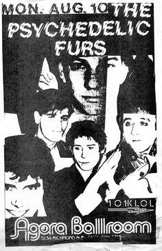 Psychedelic Furs, flyer for a show at the Agora Ballroom, Houston, circa 1981 via