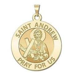 Custom Engraved Saint Andrew Religious Medal  1 Inch Size of a Quarter  Solid 14K White Gold -- You can find more details by visiting the image link.