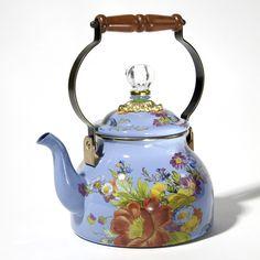 MacKenzie-Childs Flower Market Blue  Tea Kettle