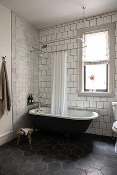 Black clawfoot tub with black and white tile - gorgeous minimalist bathroom design! White Bathroom Interior, Black Tile Bathrooms, Clawfoot Tub Bathroom, Retro Bathrooms, Upstairs Bathrooms, Bathroom Renos, Bathroom Renovations, Home Renovation, 1920s Bathroom