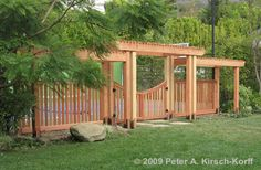 Saw this done around an entire driveway (entry and sides) and it made for a nice backyard entertaining area. Arbor with Gate in Pacific Palisades (serving Santa Monica, Malibu, Pacific Palisades