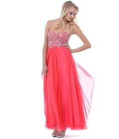 Watermelon Jewel Beaded Long Strapless Prom Dress #uniquevintage