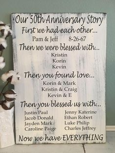 Anniversary Gift for Grandparents Family Story Sign 50 Wedding Anniversary Gifts, Anniversary Gifts For Parents, Anniversary Pictures, Golden Anniversary, Boyfriend Anniversary Gifts, Anniversary Parties, Anniversary Cards, Anniversary Ideas, Anniversary Message
