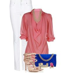 Summer outfit-Coral shirt, white pants, nude shoes with gold & royal blue