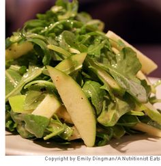 Arugala and apple salad. I plan to make this and add shaved parmesan.