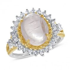 Viola Collection, Sterling Silver and Rose Gold Plated White Topaz & Rose Quartz Ring