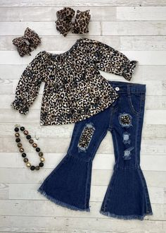 Classic leopard print peasant top for girls with coordinating distressed bell bottom jeans. #leopard #kidsfashion #shopsmall #boutiqueforgirls Cute Girl Outfits, Baby Outfits, Trendy Outfits, Baby Memories, Leopard Print Top, Peasant Tops, Baby Fever, Future Baby, Boutique Clothing