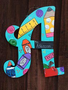 Teacher themed letter by JAGARToriginals on Etsy Teacher Door Hangers, Teacher Doors, Teacher Appreciation Gifts, Teacher Gifts, Employee Appreciation, Craft Gifts, Diy Gifts, Teacher Wreaths, Diy Playing Cards