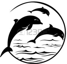 Illustration of Jumping Dolphins Scene vector art, clipart and stock vectors. Dolphin Silhouette, Silhouette Art, Silhouette Cameo Projects, Art Surf, Drawing Sketches, Art Drawings, Dolphin Drawing, Dolphins Tattoo, Delphine