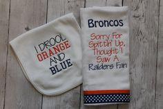Denver Broncos Burp Cloth and Bib