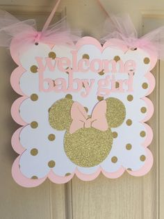 Pink and Gold Minnie Mouse Baby Shower Sign by PrettyBoutiqueParty