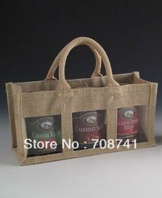 2 x Small Three Jar Jute Gift Bag With Handles And Window For Any Occasion Red