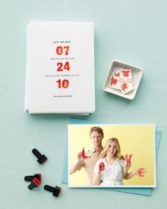 """See the """"Save-the-Date with Stamps and Photo"""" in our Good Things: Invitations and Save-the-Dates gallery"""