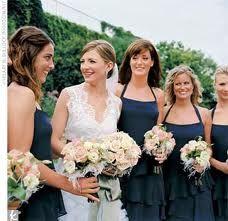 The Bridesmaid Looks Dark Blue Bridesmaid Dresses, Brides And Bridesmaids, Wedding Dresses, Bridesmaid Bouquets, Wedding Bouquets, Blue Dresses, Navy Blue And Gold Wedding, Glow Hair, Blush Bouquet
