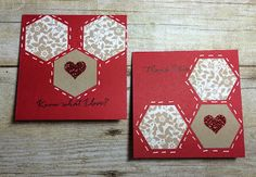 pair of 3X3 cards from Kards by Kadie ... die cut hexagon patterns ... luv the gel pen stitch lines around the shapes ... Stampin' Up!