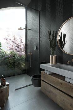 Dark Bathrooms, Dream Bathrooms, Amazing Bathrooms, Master Bathrooms, Luxurious Bathrooms, Marble Bathrooms, Bathroom Design Luxury, Home Interior Design, Interior Decorating