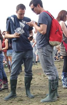 Model chad white displays his blue hunter wellies to for Kids fishing waders
