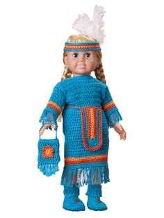 Stitch an adorable Indian Maiden outfit for your 18-inch doll!   What little girl would not love to open up a gift to find this pretty outfit for her doll. Instructions are written for dress and matching accessories. All are made using sport weight y...