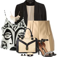 A fashion look from August 2014 featuring knit tank, thin jackets and beige shorts. Browse and shop related looks. Work Casual, Casual Chic, Fashion Outfits, Fashion Sets, Complete Outfits, Business Outfits, Short Outfits, Ideias Fashion, Fashion Looks