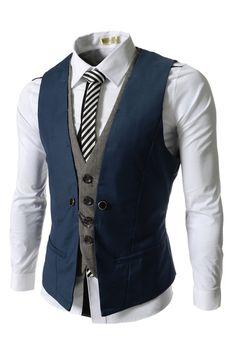 Blue Slim Layered Suit Vests for Men